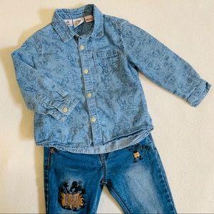 Zara x Disney Button-Down Shirt Size 18 - 24 M